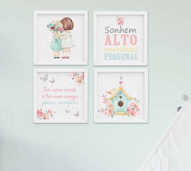 Quadro Infantil Quarto Bebê Menina Irmãs Flores Aquarela  Kit 4 Peças