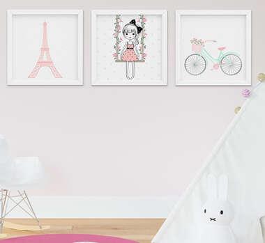Quadro Infantil Quarto Bebê Menina Torre Eiffel Paris Kit 3 Peças
