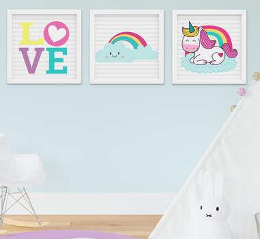Quadro Infantil Quarto Bebê Menina Unicórnio Nuvem Arco-íris Kit 3 Peças