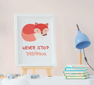Quadro Bebê Infantil Menina Menino Raposa Never Stop Dreaming