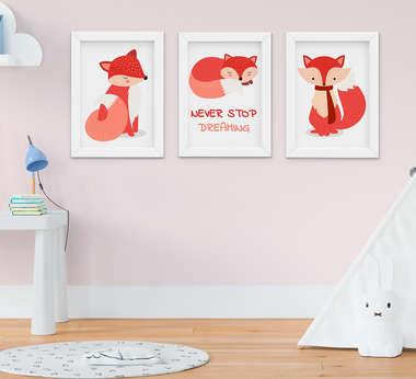 Kit Quadro Infantil Bebê Raposas 3 Peças