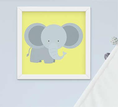 Quadro Bebê Infantil Menino Safari Elefante
