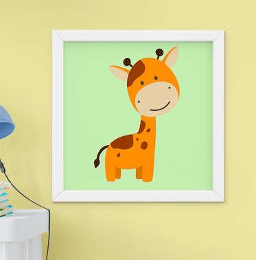Quadro Infantil Quarto Bebê Menino Safari Girafa