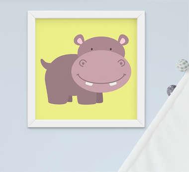 Quadro Decorativo Infantil Bebê Menino Safari Hipopótamo