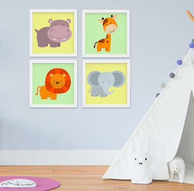 Quadro Infantil Safari Kit 4 Peças