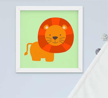 Quadro Decorativo Infantil Bebê Menino Safari Leão