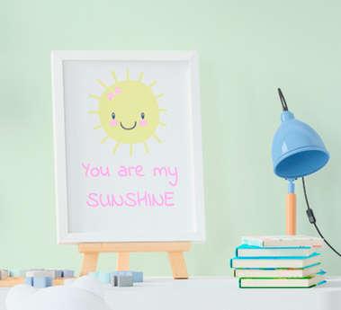 Quadro Infantil Bebê Menina Sol You Are My Sunshine