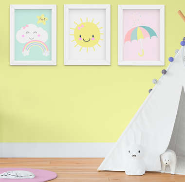 Kit Quadro Infantil Bebê Menina Sol e Nuvem 3 Peças