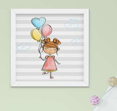 Quadro Quarto Bebê Menina Balão