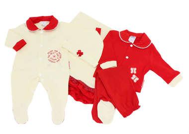 Saída de Maternidade Bebê Menina 5 Peças Ovelhinhas Vermelha