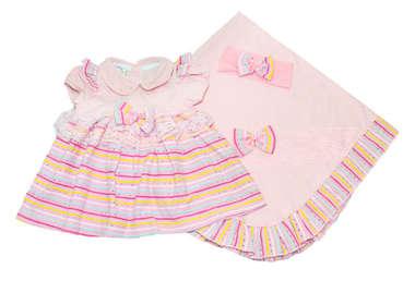Saída de Maternidade Bebê Menina 3 Peças Vestido Arco-Ìris Rosa