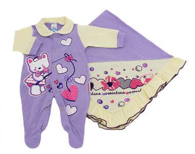 Saída de Maternidade Baby Love Lilás Com 2 Peças