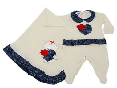 Saída de Maternidade Bebê Menina 2 Peças Coração Poá Azul