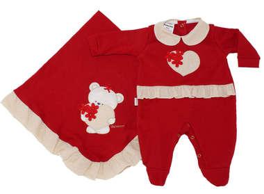 Saída de Maternidade Bebê Menina 2 Peças Coração Vermelha