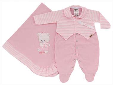 Saída de Maternidade Bebê Menina 2 Peças Listras Rosa