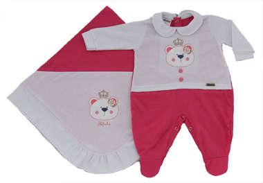 Saída de Maternidade Bebê Menina 2 Peças Ursinha Princesa Pink