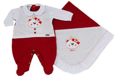 Saída de Maternidade Bebê Menina 2 Peças Ursinha Princesa Vermelho