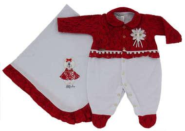 Saída de Maternidade Bebê Menina 2 Peças Ursinha Vermelho
