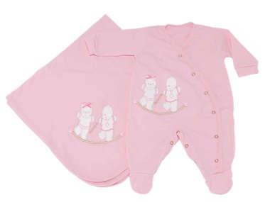 Saída de Maternidade Bebê Menina 2 Peças Ursinhos Rosa