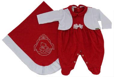 Saída de Maternidade Bebê Menina 2 Peças Ursinhos Vermelha