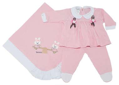 Saída de Maternidade Bebê Menina 3 Peças Coelhinha Rosa