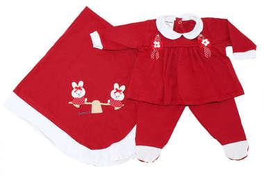 Saída de Maternidade Bebê Menina 3 Peças Coelhinha Vermelha