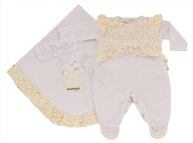 Saída de Maternidade Bebê Menina 3 Peças Elefantinha Amarela