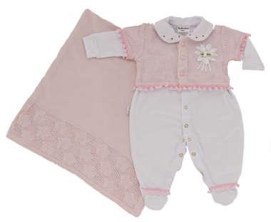 Saída de Maternidade Bebê Menina 3 Peças Pom Pom Rosa