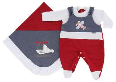 Saída de Maternidade Bebê Menino 2 Peças Avião Vermelho