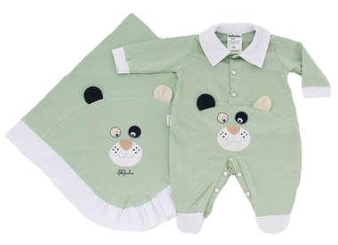 Saída de Maternidade Bebê Menino 2 Peças Cachorrinho Verde