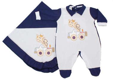 Saída de Maternidade Bebê Menino 2 Peças Girafinha Branco e Azul