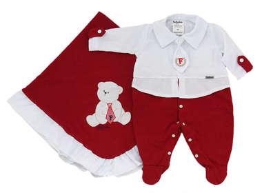 Saída de Maternidade Bebê Menino 2 Peças Gravatinha Vermelha