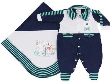 Saída de Maternidade Bebê Menino 2 Peças Navy Azul