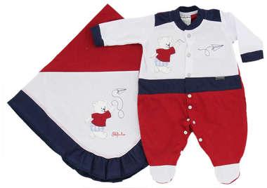 Saída de Maternidade Bebê Menino 2 Peças Ursinho Vermelho