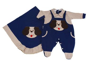 Saída de Maternidade Bebê Menino 2 Peças Cachorrinho Azul e Bege