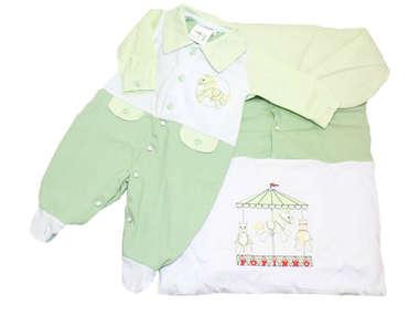 Saída de Maternidade Bebê Menino 2 Peças Carrossel Verde