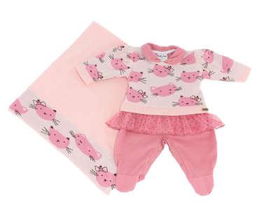 Saída de Maternidade Bebê Menina 3 Peças Gatinha Rosa