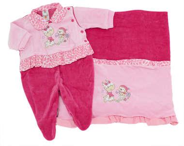 Saída de Maternidade Bebê Menina 2 Peças Girafinha Rosa