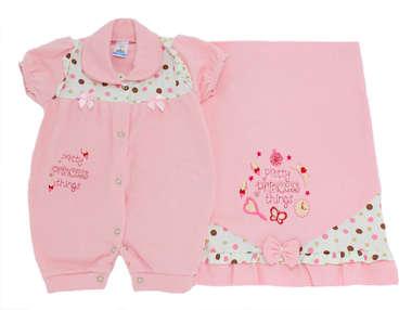 Saída de Maternidade Bebê Menina 2 Peças Princess Rosa