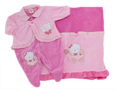 Saída de Maternidade Bebê Menina 2 Peças Ursinha Rosa
