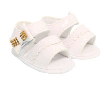 Sandália Bebê Menina Strass Branca