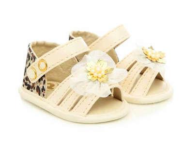 Sandália Bebê Menina Fashion Bege