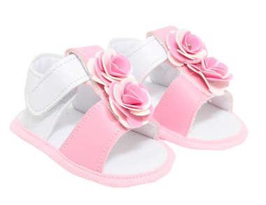Sandália Bebê Menina Flores Rosa e Branco