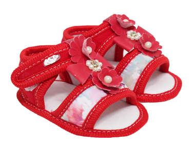 Sandália Bebê Menina Floral Vermelha