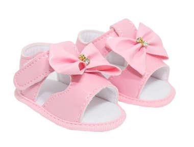 Sandália Bebê Menina Verniz Laço Rosa