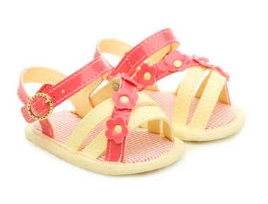 Sandália Bebê Menina Flores Rosa e Amarelo