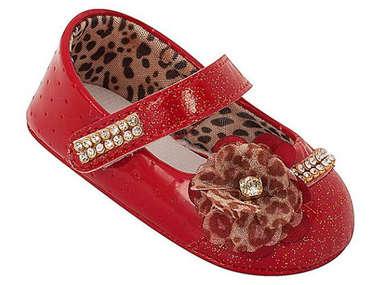 Sapato Bebê Menina Boneca Flor e Strass Vermelho