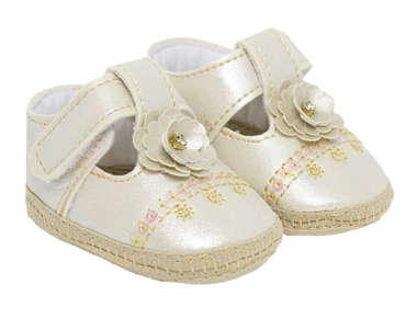 Sapato Bebê Menina Boneca Florzinha Dourado