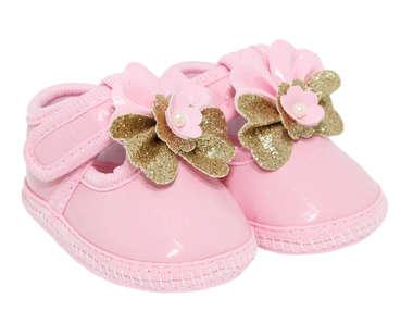 Sapato Bebê Menina Verniz Boneca Rosa