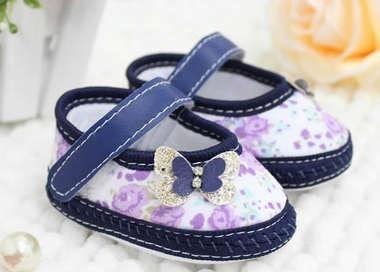 Sapato Bebê Menina Borboletinha Floral Azul